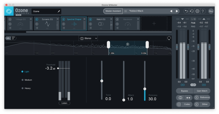 Ozone 9のSpectral Shaper