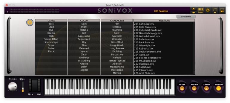 Sonivox_TwistのBrowser