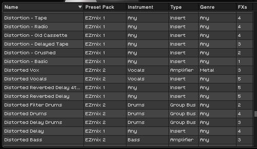 EZmixのプリセット